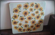 decoupage: sunflowers on wooden table