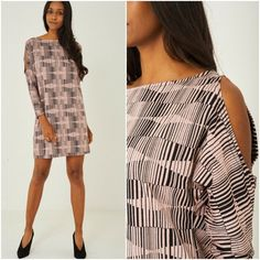 Cold Shoulder Textured Shift Jumper Dress Patterned Relaxed Mini 14 16 18 20 22 #Unbranded #JumperDress #AnyOccasion