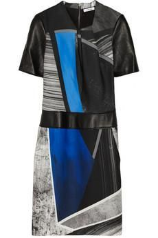 Helmut Lang Fracture printed crepe de chine and leather dress