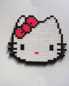 Large Hello Kitty Head w Pink Bow Perler Bead Sprite by nintendo-universe