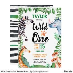 Shop Wild Things Safari Animal Kids Birthday Party Magnetic Invitation created by LilPartyPlanners. Owl Birthday Invitations, Zazzle Invitations, Invites, Planners, Shop Wild Things, Safari Animals, Woodland Animals, Pretty Kids, Animal Birthday