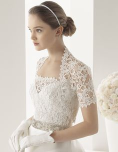 two by rosa clara 2014 - lace bridal jacket & white leather gloves