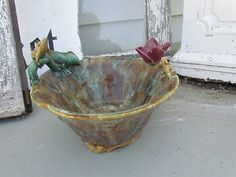 Vintage Pottery Majolica Florentine Frog Pond Lily Bowl Dish Signed