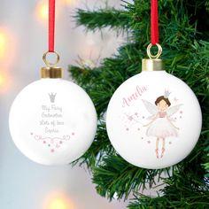 Personalised Fairy Princess Christmas Bauble #fairies #christmasdecor #christmasgifts #childrendecorations #christmas #christmasbauble