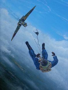 A 41 Squadron pilot bails out of his damaged Spitfire
