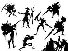 character silhouettes by p-o-q on DeviantArt Character Poses, Character Design References, Character Concept, Concept Art, Thumbnail Sketches, Silhouette Design, Silhouette Drawings, Character Creation, Sketch Design