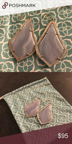 Kendra Scott Blue Lace Agate Alexandra Like new Alexandra in gorgeous Blue Lace Agate! Very hard to find, especially in such great condition! Kendra Scott Jewelry Earrings