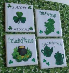 Irish Ceramic Tile Art 4 piece set Irish Decor by TheCelticLass Ceramic Tile Crafts, Celtic Decor, Irish Decor, St Patrick's Day Crafts, Irish Blessing, Irish Traditions, Luck Of The Irish, Tile Coasters, Ceremony Decorations