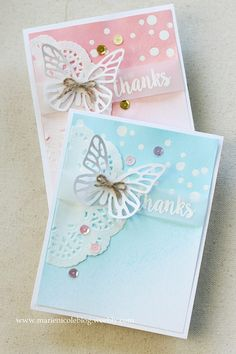 Glimmer Mist Thank Yous - beautiful softly misted cards