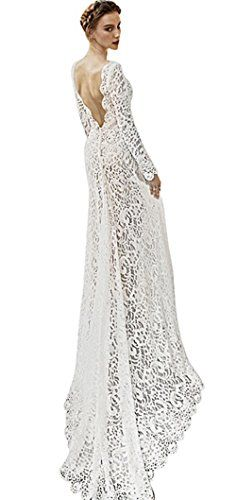 0ae5efc0f8c online shopping for Yomoko Women's Sexy Deep V Neck Lace Evening Dress Long  Sleeve Wedding Prom Ball Gown from top store. See new offer for Yomoko  Women's ...