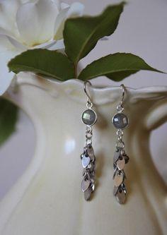 Labradorite and silver leaf chain earring by KathyGaiserJewels