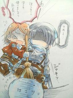 Chibi!Petra & Chibi!Levi   Shingeki no Kyojin (by meropan) #anime