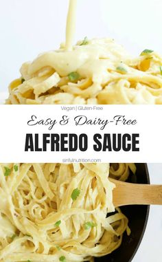 Easy Dairy-Free Alfredo Sauce - Sinful Nutrition This Easy Dairy-Free Alfredo Sauce recipe is vegan, nut-free, & made with only 7 simple ingredients. You'll never guess the secret ingredient! Dairy Free Sauces, Dairy Free Diet, No Dairy Recipes, Vegetarian Recipes, Cooking Recipes, Dairy Free Zoodle Recipes, Lactose Free Pasta Recipes, Dairy Free Hamburger Recipes, Dairy Free Meals