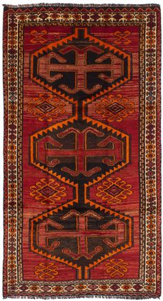 Persian Shiraz-Qashqai x Hand-knotted Wool Red Rug Ancient Scripts, Types Of Rugs, Floral Rug, Red Rugs, Tribal Rug, Rugs Online, Woven Rug, Persian Rug, Handmade Rugs