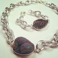 Rainbow Druzy titanium geodes now as a necklace and a bracelet.