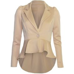 VIP BOUTIQUE Womens Plain Button Peplum Blazer Jacket ($46) ❤ liked on Polyvore