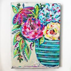 Abstract Floral Painting / Pop Art Flower Art / inch Original Art on Canvas / Acrylic / Audra Sampson Floral Artwork, Floral Paintings, Art Floral, Simple Artwork, Mini Canvas Art, Art Inspiration Drawing, Pictures To Paint, Love Art, Watercolor Flowers