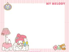 my melody frame by skydreamkawaii on DeviantArt Memo Notepad, Note Doodles, Kawaii Illustration, Cute Cartoon Wallpapers, Little Twin Stars, My Melody, Note Paper, Writing Paper, Sticky Notes