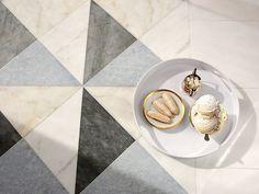 Christopher 3 stone mosaic | New Ravenna Tile Accent Wall, Wall Tile, New Ravenna, Calacatta, Stone Mosaic, Dog Bowls, Latte, Mosaics, Lisa