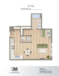Efficiency/Studio Floor Plan   2M Street in Northeast Washington DC   WC Smith #Apartments   NoMa #PetFriendly #Rentals