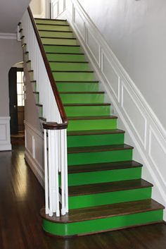 My husband is such a good sport! When I suggested a fun and dramatic GREEN ombre staircase for the front entryway/foyer he hesitated . Painted Stair Risers, Hallway Colours, Purple Interior, Stairs Architecture, Stairway To Heaven, Green Life, Stairways, White Walls, Decoration