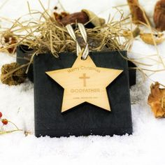 Engraved Maple Wood Star Godfather Decoration