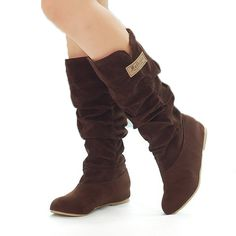 Donalworld Women Retro Mid Calf Bckle Strap Knee High Boot Boot Seude Pumps Shoes -- Want additional info? Click on the image.