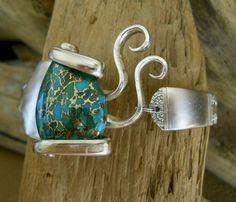 Fork Bracelet - Royal York 1937 Silver Plated Fork Bracelet with Genuine Mosaic Turquoise