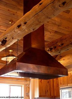Milos Art Metal Copper Hood I love all the rustic kitchen ideas! Log Cabin Living, Log Cabin Homes, Log Cabins, Kitchen Hoods, Island Kitchen, Kitchen Appliances, Log Home Kitchens, Rustic Kitchens, Rustic Homes