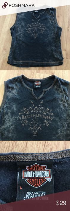 Harley Davidson V-Neck Sleeveless Top Size Large Some stitching missing on the bottom, doesn't affect wear! Shown in 5th picture⚜️I love receiving offers through the offer button!⚜️ Good condition, as seen in pictures! Fast same or next day shipping!📨 Open to offers but I don't negotiate in the comments so please use the offer button😊 Harley-Davidson Tops Tank Tops