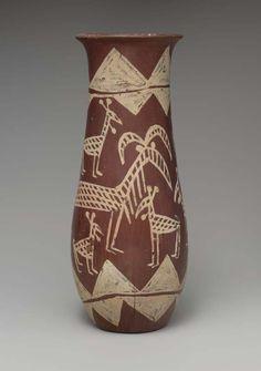 Tall jar with Barbary sheep Naqada Ic (ca. 3700 BC) Provenance: Naqada, Tomb 1644 Pottery, paint (White Cross-lined Ware) H. 25.5 cm (10...