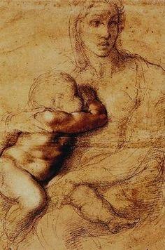 Vierge à l'enfant - Michel Ange - esquisse, on y trouve l'essentiel de la composition, l'attention se fixe sur des détails d'autant plus beau qu'ils se détachent des esquisses -