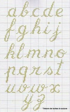 BROKEN LINK but still a cool pattern for script lower case alphabet chart for cross stitch or needlepoint Cross Stitch Alphabet Patterns, Alphabet Charts, Embroidery Alphabet, Cross Stitch Letters, Cross Stitch Love, Cross Stitch Charts, Cross Stitch Designs, Stitch Patterns, Crochet Alphabet