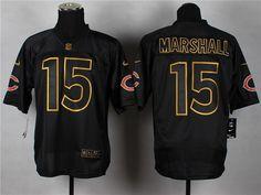 Nike Chicago Bears #15 Brandon Marshall 2014 All Black/Gold Elite Jersey