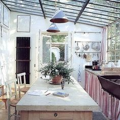 Glass ceiling kitchen...outdoor patio