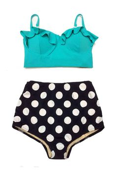 Mint Midkini Top and Black Polka dot High Waisted Shorts Bottom Bottoms Vintage Retro Bikini Swimsuit Bathing suit suits Swim wear Women S M