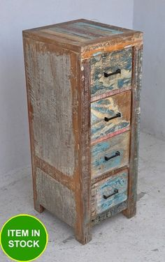 Recycled Reclaimed boat Timber wood French dresser chest of 4 drawers tallboy