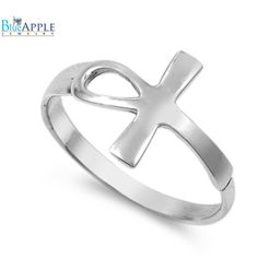 Petite Dainty Ankh Ring Solid 925 Sterling Silver Simple Plain Sideways Ankh Ring Egyptian Ankh Gift