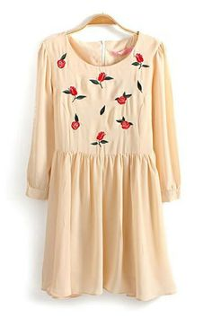 Floral Embroidery Pleating Dress