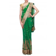Green saree adorn in zari and kardana embroidery