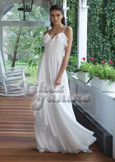 Ruffled Bikini Neckline with Asymmetrical Ruffle Chiffon Skirt Chiffon Ruffle, Chiffon Skirt, Ruffles, Wedding Dress Trends, Bridal Wedding Dresses, Gown Gallery, Simple Gowns, Boho Vintage, Sweetheart Wedding Dress