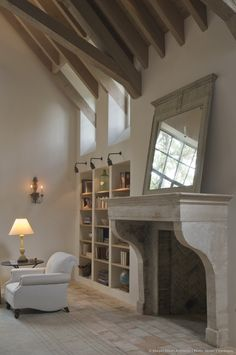 Murphy Mears Architects - French fireplace and beams Fireplace Surrounds, Fireplace Design, Fireplace Mantels, Fireplace Lighting, Beach Fireplace, Mirror Over Fireplace, Fireplace Makeovers, Shelves Lighting, Cottage Fireplace