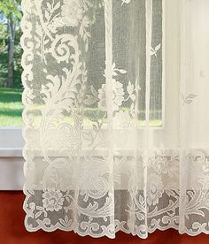 Image Detail For  Floral Point Lace Tier Curtains   Country .