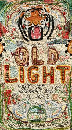 Jenn Finn, hand-embroidered Old Light poster, 2012 Art Fibres Textiles, Textile Fiber Art, Textile Artists, Textile Patterns, Embroidery Art, Cross Stitch Embroidery, Art Fil, Lesage, Thread Art