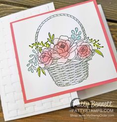 Simple and stunning Basket Weave embossing folder and gorgeou Blossoming Basket stamp set. Stampin' UP! Sale-a-Bration 2018 part 2!! Feb. 16, to March 31, 2018!! 3 more free gift choices!! Shop online and earn gifts!! www.MyStampOrder.com