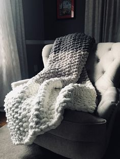 Chunky Knit Blanket - Gray & Ivory Bedding - Custom Bed Runner - Handknit Afghan - Neutral Home Dec # gray chunky knit blanket Chunky Knit Ombré Blanket - Vegan Chenille Cozy Throw - Soft Non-Shedding Afghan - Gray and Ivory Gradient Bedding Chunky Yarn Blanket, Chenille Blanket, Hand Knit Blanket, Chunky Knit Throw, Ivory Bedding, Knitted Blankets, Crochet Throws, Knitted Washcloths, Crochet Afghans