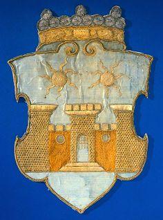 Kexholms vapen, broderat tillsammans med en serie vapen för schabrak burna av sorgehästarna i Gustav II Adolfs begravning 1633 (1634).