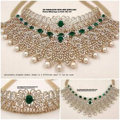 These Detachable Diamond Jewellery Designs Will Blow Your Mind! • South India Jewels Indian Jewellery Design, South Indian Jewellery, Indian Jewelry, Jewelry Design, Diamond Choker, Diamond Jewelry, Gold Jewelry, 22 Carat Gold, Necklace Designs