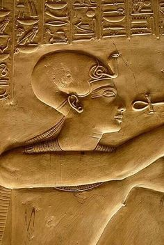 Abydos, Carving, Kemet Pharaoh wearing the blue war crown and getting the breath of life from the ankh held by one of the gods of Kemet. Ancient Egypt Art, Ancient Aliens, Ancient Artifacts, Ancient History, European History, Ancient Greece, Art History, American History, Kemet Egypt