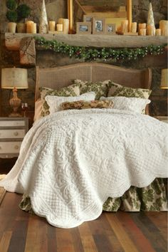Mama needs something cozy: King-size Chalet Quilt - Faux Fur Bed Quilt, Ivory Floral Quilt, Cotton Sateen Bed Quilt | Soft Surroundings